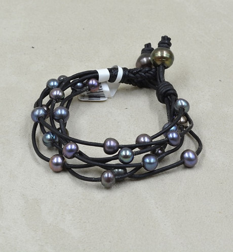 Cultured Freshwater Pearl Bracelet w/ Black Leather by US Pearl Co.