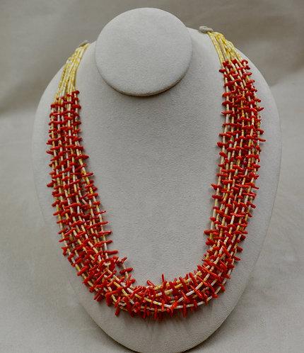 Mini Branch Coral, 2mm Glod Lip Clam, 10 Strands Necklace