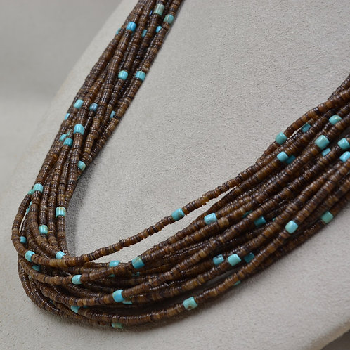 Baby Olive Shell Heishi w/ Turquoise Beads by Peyote Bird