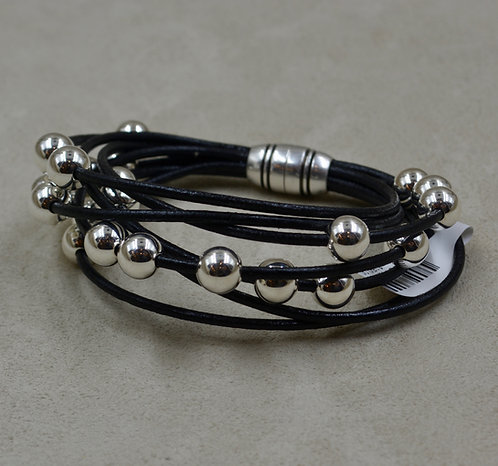 Black Multi-Strand Sterling Silver Beaded Bracelet by Sippecan Designs