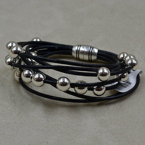Black Multi-Strand Sterling Silver Beaded Bracelet by Sippecan Designs