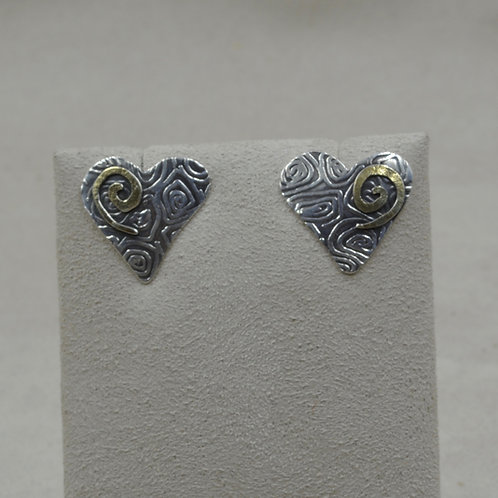Sterling Silver 18k Gold Spiral Heart Earrings on SS Chain by Richard Lindsay