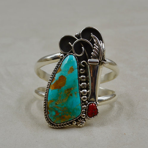 Large Old Kingman Turquoise w/ Med. Coral Cuff by Cheryl Arviso