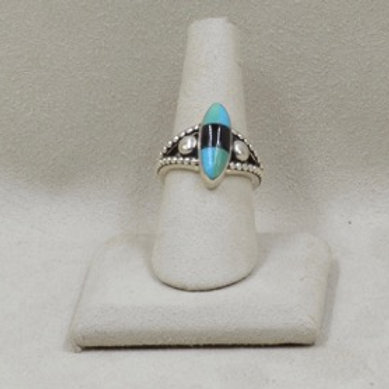 Raindrop Oval Kingsman Turquoise and Onyx Ring 7X by JL McKinney