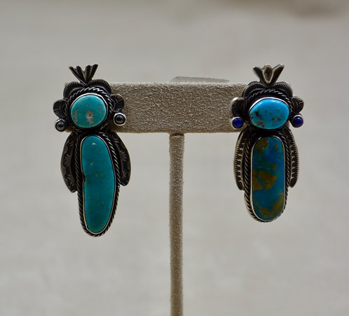 S. Silver Yei Figures Earrings w/ Lapis and Asst Turquoise by Herbert Ration