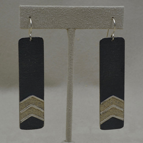 Double Arrow Long Oxidized Color Posts Earrings by Mark Roanhorse Crawford