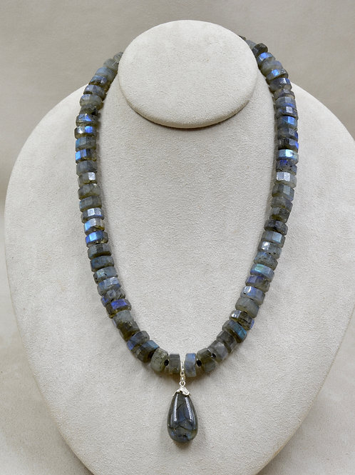 Faceted Labradorite w/ Black Spinel Spacers Necklace by Reba Engel