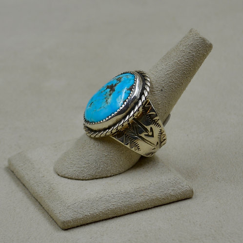 Kingman Stab Turquoise & Sterling Silver 8x Ring by James Saunders