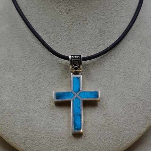 Sterling Silver & Kingman Turquoise Rectangular Cross Pendant by JL McKinney