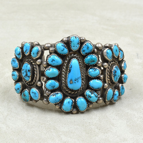 Vintage Old Kingman Turquoise Cluster Cuff