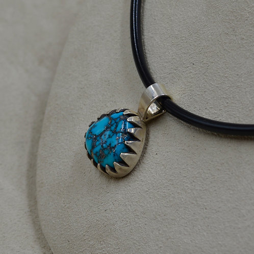 S. Silver & Hi-Grade Natural Morenci Turquoise 14Ct Pendant by John Paul Rangel