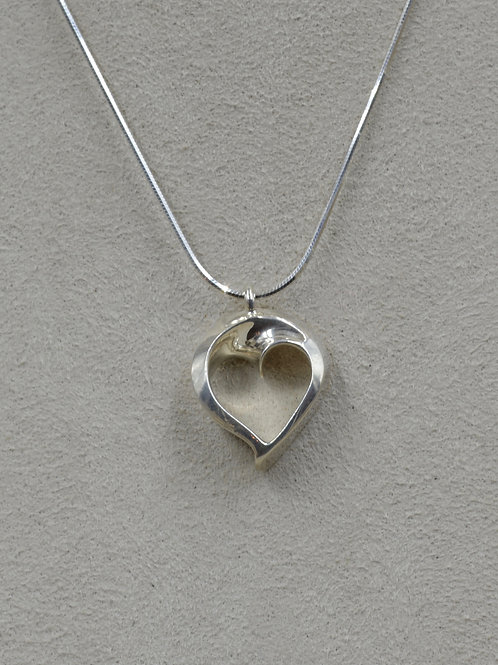 """S. Silver Heart of Infinite Love w/ 18"""" Chain Necklace by Charles Sherman"""