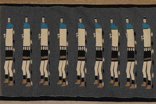 "1950's Large Yei Navajo Weaving with Natural and Aniline Dyes - 45.5"" x 78"""