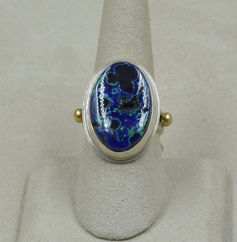 18k Gold, Azurite / Malachite, and Sterling Silver 7X Ring by Joe Glover