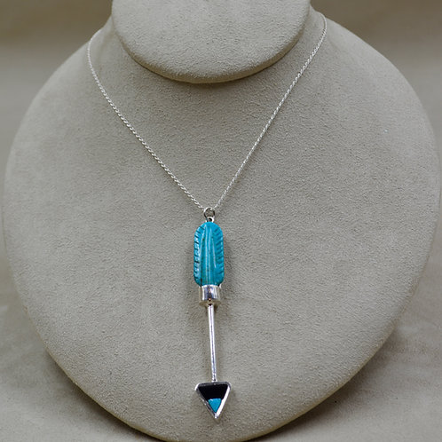 Sterling Silver, Turquoise, and Onyx Feather on Chain by Lente