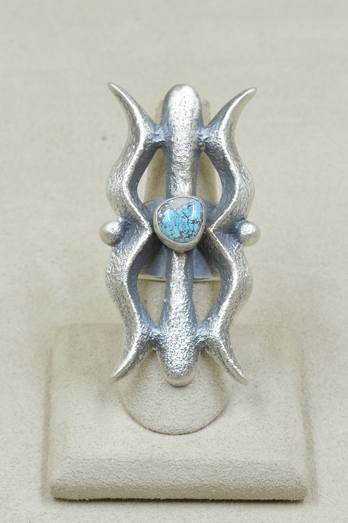 Tufa Cast S. Silver 6.5 x Ring w/ Natural Bisbee Turquoise by Monty Claw