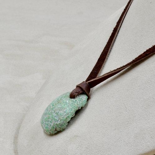 """Natural Damali Mine Varisite on Adjustable 26"""" Leather Necklace by Joe Glover"""