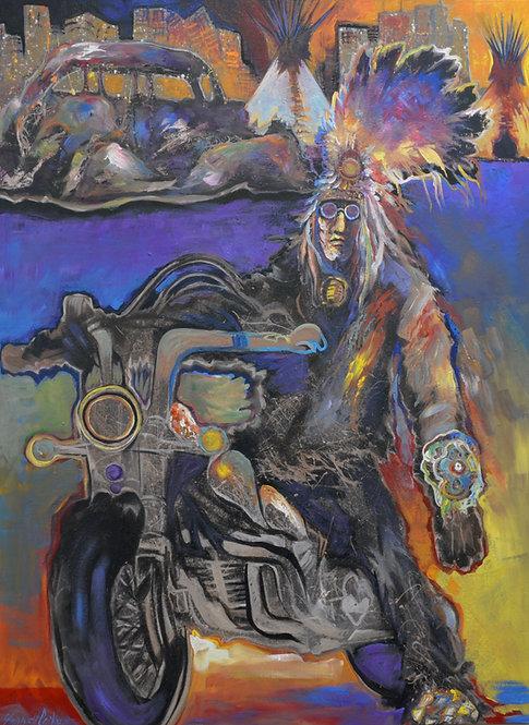 """Napi Urban Plains Drifter"" Ac on Canvas - 48"" x 36"" by Farrel Cockrum"