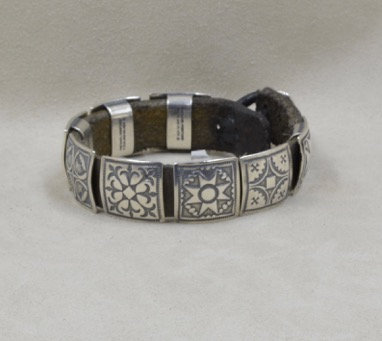Sterling Silver Brown Round Concho Leather Bracelet by Rick Montano