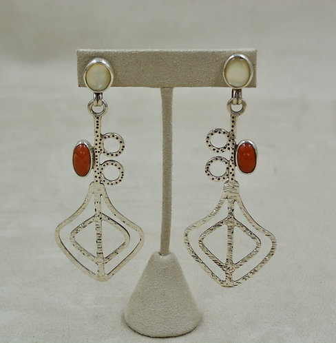 Mother of Pearl, Coral, Sterling Silver Post Earrings by Melanie DeLuca