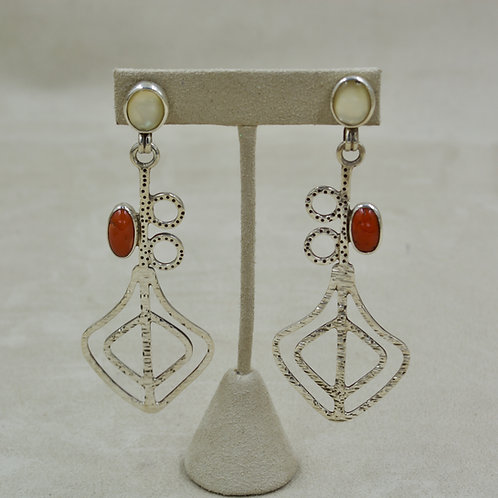 Mother of Pearl, Coral, Sterling Silver Post Earrings by Melanie DeLuca