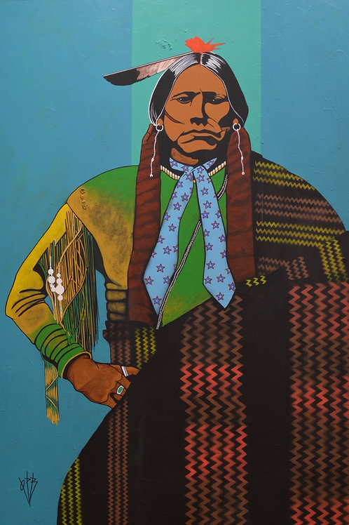 """Chief Quanah Parker"" AC on Canvas - 72"" X 48"" by Quanah Parker Burgess"