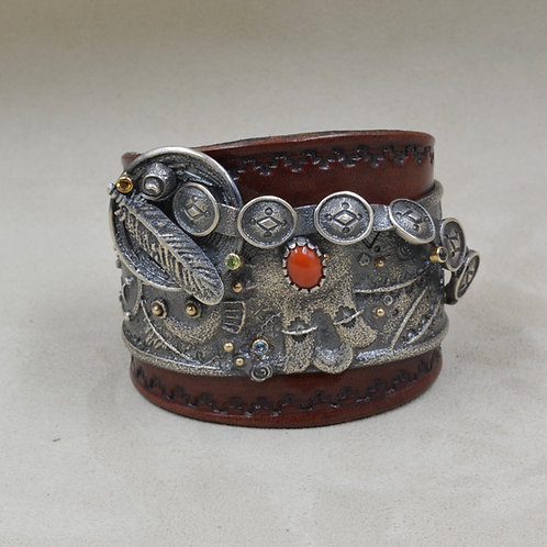 Red Coral, Citrine, Topaz, Iolite, Peridot & Leather Cuff by Fritz Casuse