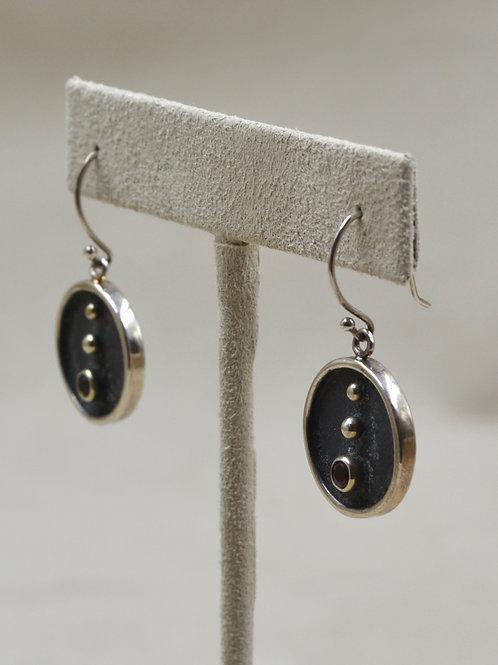 S. Silver Round Bindu Mindfullness Earrings, 18k Plate w/ Stone by Roulette 18