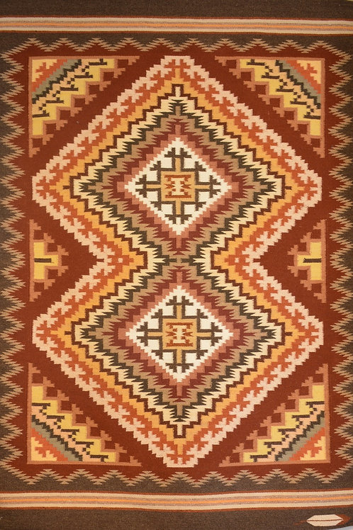 """Burntwater Navajo Weaving by Emily Malone- 72"""" X 48"""""""