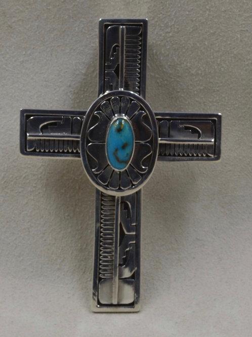 Large Sterling Silver & Bisbee Turquoise Handmade Cross Pendant by Leonard Nez