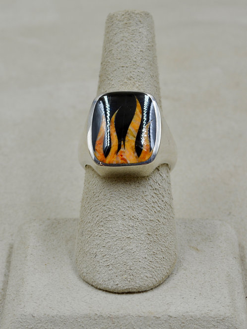 Flame 7x Ring w/ S. Silver w/ Black Jade, Spiny Oyster by GL Miller