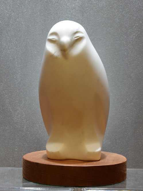"""""""Arctic Owl"""" - Carrera Marble on Wood - by Eddy Shorty"""