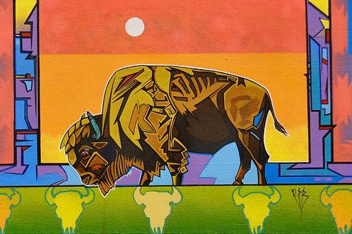 """The Conquerer"" Ac on Canvas 16"" x 40"" - by Quanah Parker Burgess"