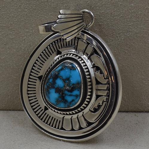 Natural Apache Blue Turquoise Asymmetrical Pendant by Leonard Nez