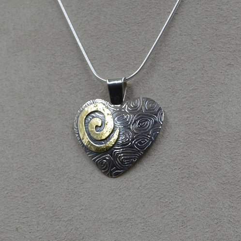 Sterling Silver & 18k Gold Spiral Heart Pendant on SS Chain by Richard Lindsay