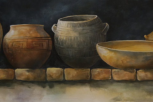 """""""Upper Shelf Pots"""" Acrylic on 24"""" x 60"""" Canvas Painting by Connie Baker"""