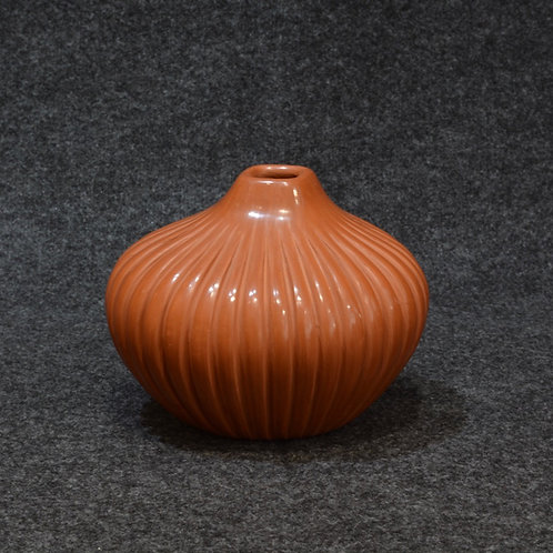 Red Gourd with Square Opening by Alvina Yepa - Jemez Pueblo
