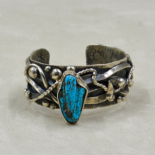 Hand Forged Old Natural Kingman Turquoise Cuff by Robert Mac Eustace Jones