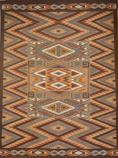 "Rug in a Rug in a Rug - Navajo Weaving - Rita Kaye 72"" X 54"""