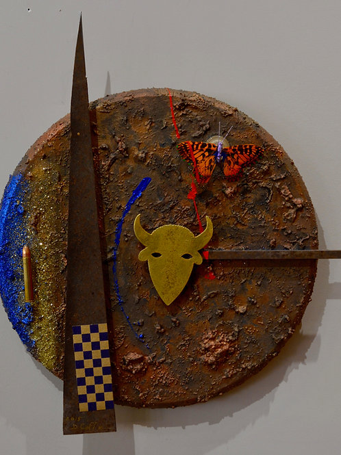 """""""American Butterfly & Bullet"""" Mixed Media on Wood by Doug Coffin"""