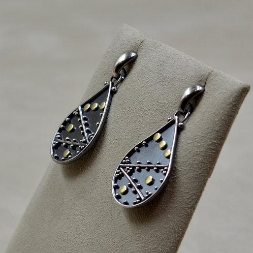 Argentinian Silver Teardrop w/ 24k Gold Crisscross by Michele McMillan