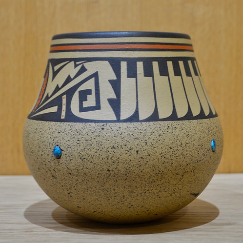 Large Feather Design with Turquoise Inlay Pot by Cavan Gonzales