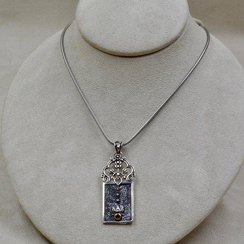 Ornate Sterling Silver Lotus w/ Rhodolite Garnet Pendant by Roulette 18