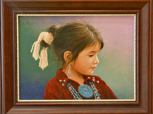 """'Indian Jewelry Girl' Oil on Canvas 16"""" x 20"""" by Larry Riley"""