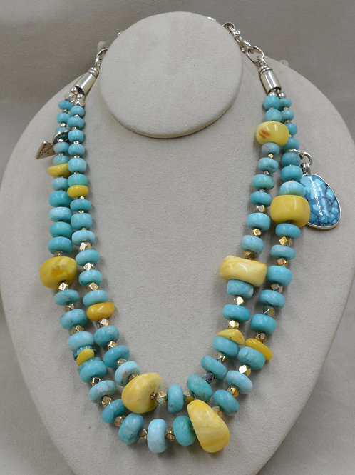 2-Strand Peruv. Amazonite, Moroccan Amber, Turquoise Necklace by Melanie DeLuca