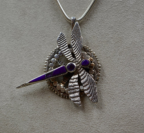 Sugilite & Amethyst Butterfly Silver Pendant by Robert Mac Eustace Jones
