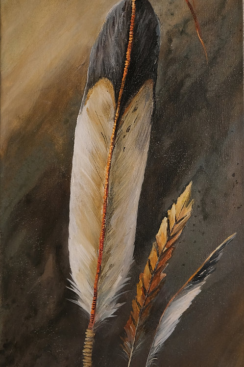 """""""Ceremonial Feathers"""" Acrylic on Canvas 24"""" x 12"""" Painting by Connie Baker"""