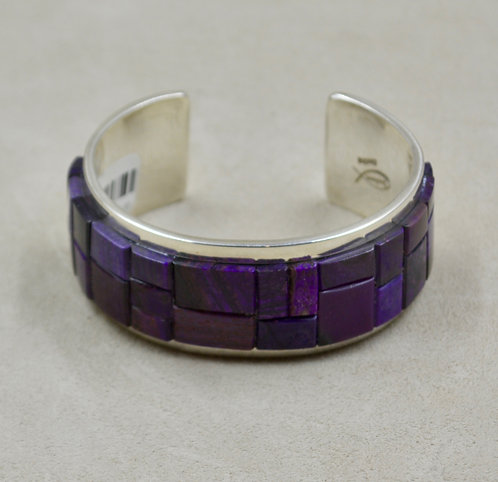 Sterling Silver with Sugilite Inlay Cuff by Tommy Jackson