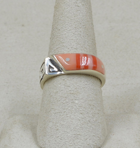 Superman Pink & Red Coral 8x Ring by Veronica Benally