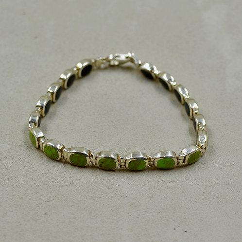 Gaspeite & Onyx Double Sided Tennis Bracelet w/ S. Silver by Peyote Bird
